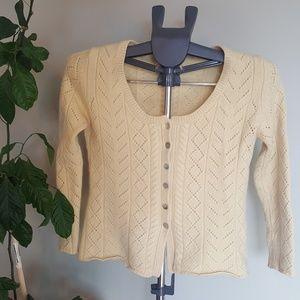 Cashmere buttondown cropped sweater